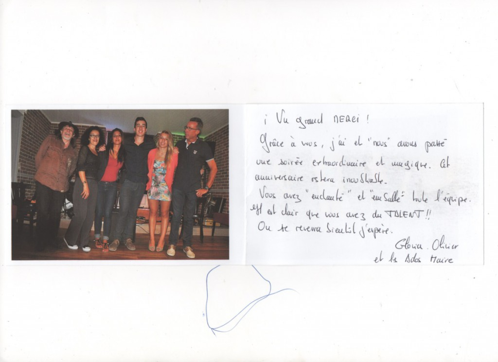 Carte Gloria Maire anniv à La Voulte 2014